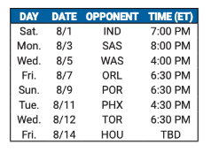 76ers 8-game Schedule Released